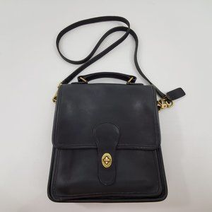Coach Classic Leather Station Bag Black Leather Cr